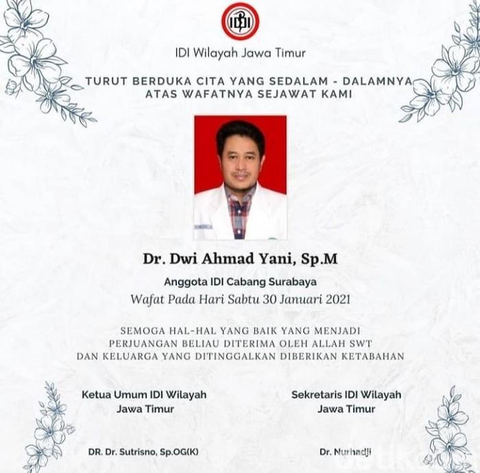Dokter Spesialis Mata di Surabaya Meninggal Positif COVID-19