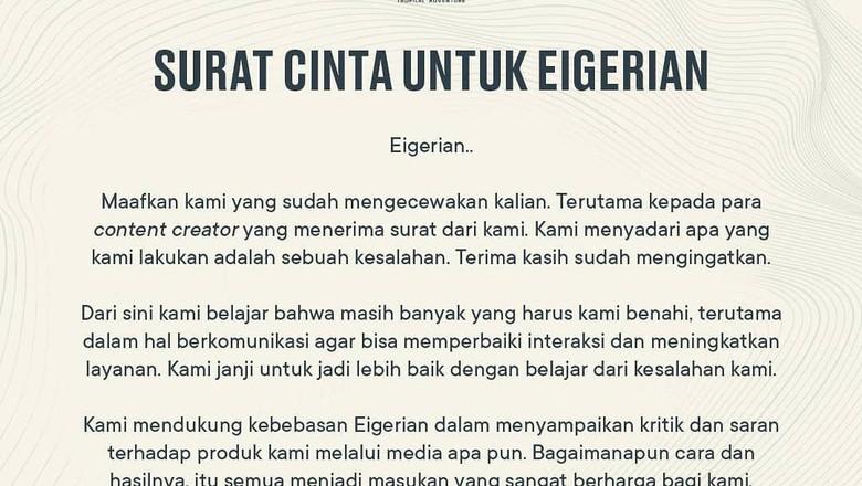 Surat Cinta Eiger untuk content creator