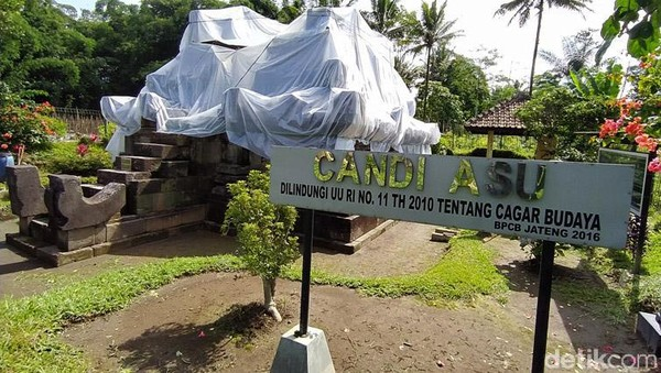 Candi Asu di Desa Sengi, Kecamatan Dukun, Kabupaten Magelang, Jawa Tengah, ditutup dengan plastik. Adapun penutupan candi dilakukan pada Jumat (29/1/2021) lalu.