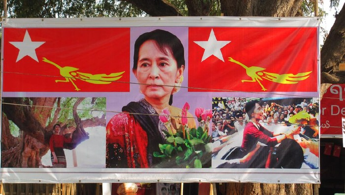 Bagan,Myanmar-March 4,2012:Election 2012 poster of Aung San Suu Kyi and her party,NLD, the National League for Democracy.