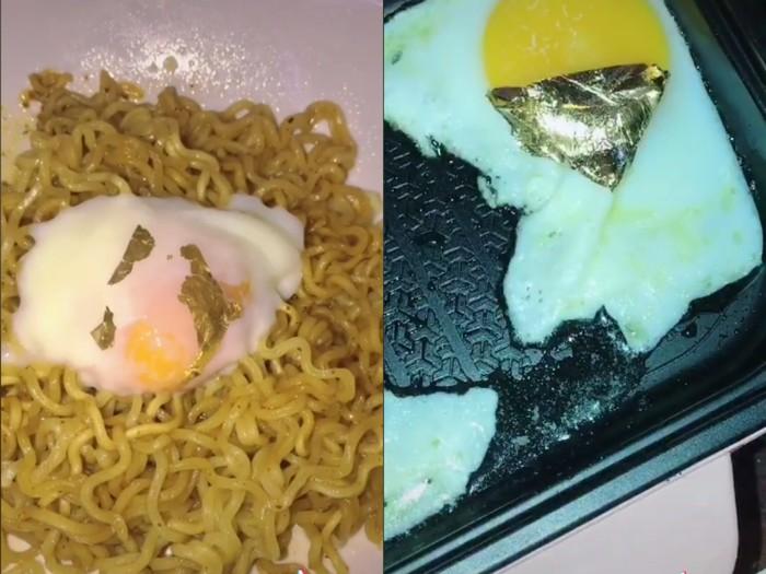 Sultan! Indomie Goreng Telur Ini Ditempeli Emas 24 Karat