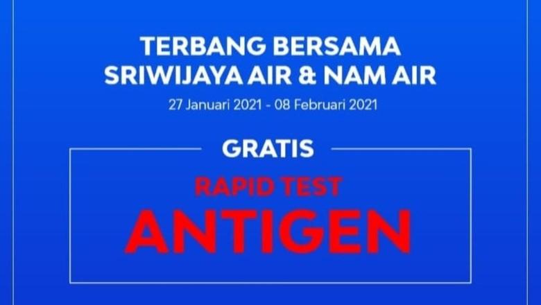 Rapid Test Gratis Sriwijaya Air