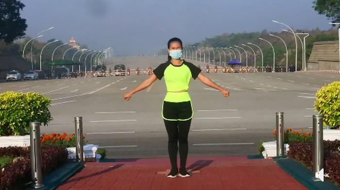 Khing Hnin Wai viral aerobik