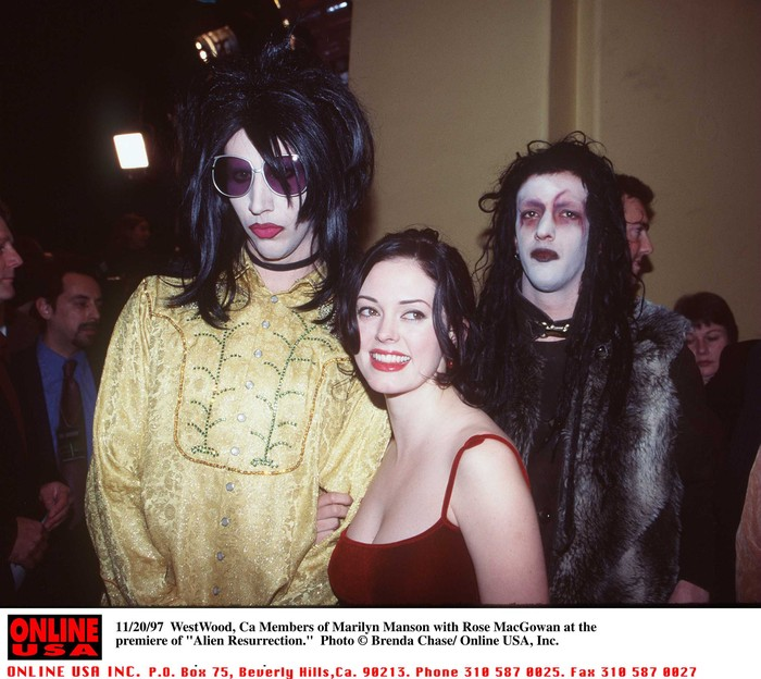 11/20/97 Beverly Hills, Ca Members of Marilyn Manson with Rose McGowan at the premiere of