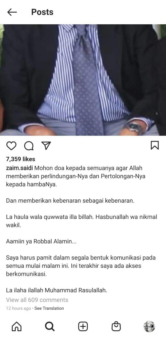 Tangkapan layar akun Instagram Zaim Saidi (Instagram)