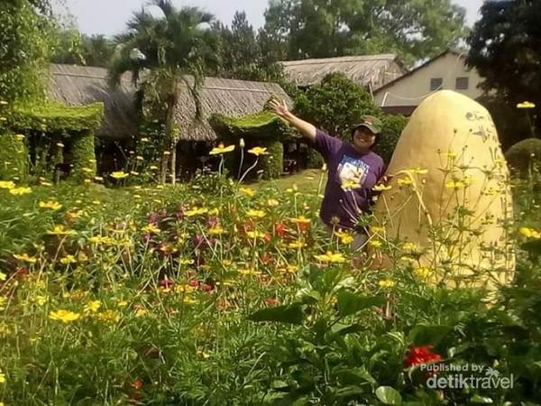 Mengabadikan momen di Pulau Kelapa dengan berfoto di taman bunga yang ada di pulau tersebut.