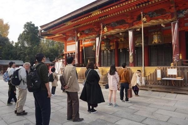 Yasaka Shrine menjadi lokasi perayaan festival Gion Matsuri di bulan Juli
