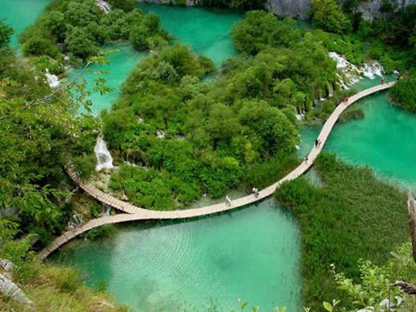 Danau Plitvice tampak atas (Sumber: themagicofscience.wordpress.com)