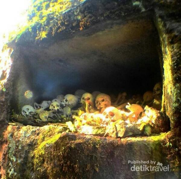 Tengkorak yang ada di dalam batu