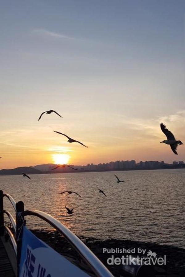 Menikmati sunset di Wolmido