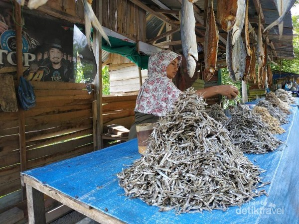 seorang pedagan ikan sedang menjajakan dagangannya