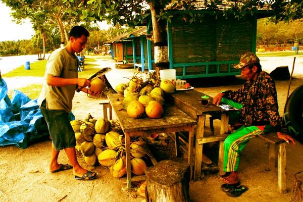 Pak Yasir dan putranya. Penjual kelapa.