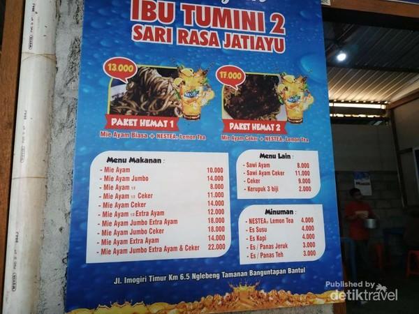 Daftar menu warung mie ayam Ibu Tumini 2