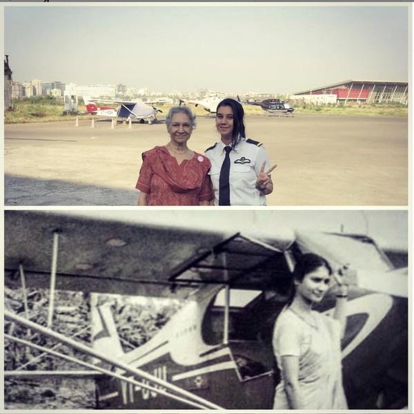 Ayesha bertemu dengan Rabia Futehally, pilot wanita India pertama yang,pemegang PPL di tahun 1960-an. Ia tak memakai celana dan kemejaseperti pilot saat ini.