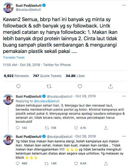 Susi Pudjiastuti Akan FollBack Netizen Twitter yang Doyan Ikan, Ini Katanya