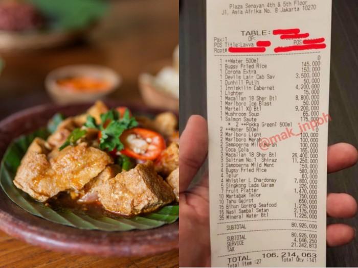 Wow! Tagihan Makan Tahu Gejrot dan Nasi Sambal Setan Capai Rp 106 Juta