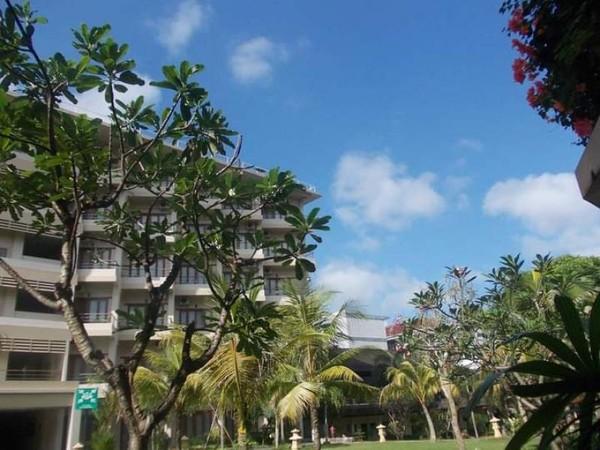 Birunya langit menambah suasana sekitar hotel dan taman.