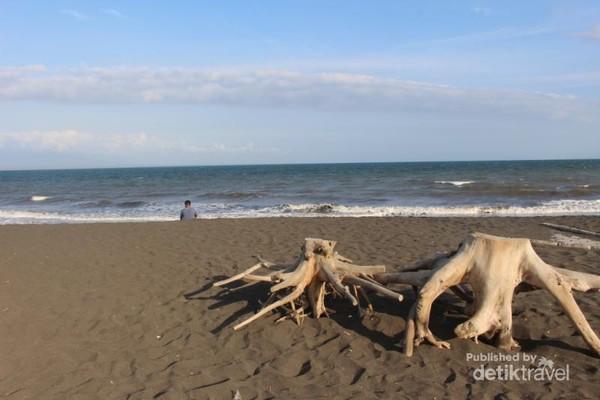 Pemandangan pantai dengan ombak dan angin yang cukup kencang.