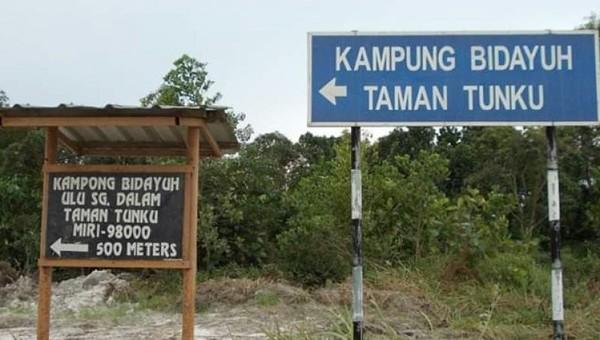 Jalan menuju Kampung Bidayuh Taman Tunku Miri-Sarawak