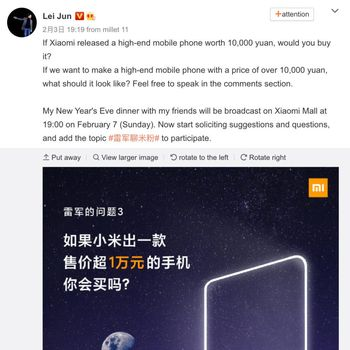 Postingan CEO Xiaomi Lei Jun di Weibo soal ponsel Rp 20 jutaan