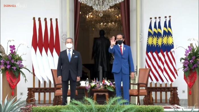 Presiden Jokowi bertemu PM Malaysia Muhyiddin Yassin di Istana Merdeka. (Foto: Tangkapan layar YouTube Setpres)