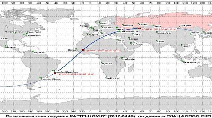 Perkiraan posisi jatuhnya satelit Telkom-3 di Bumi.