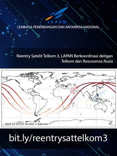 Satelit Telkom-3 akan jatuh kembali ke Bumi.