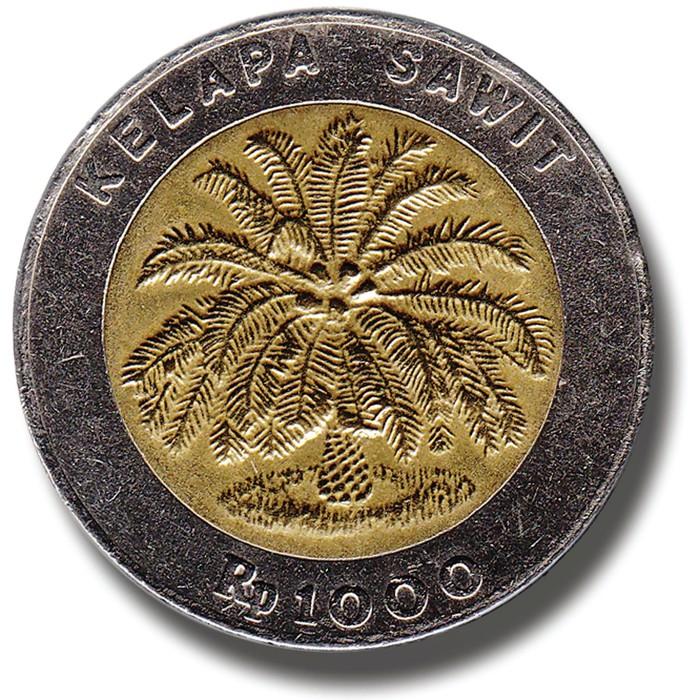 Uang logam Rp 1.000 bergambar kelapa sawit. Tahun emisi 1993