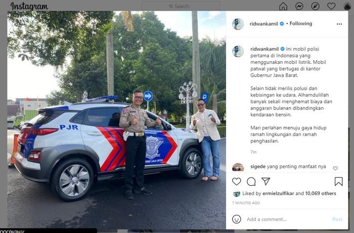 Mobil polisi pertama di Indonesia yang pakai kendaraan listrik