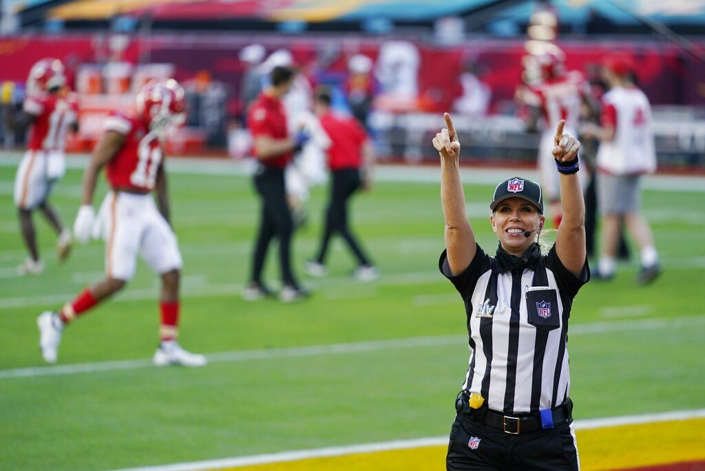 Down judge Sarah Thomas (53) poses for a photo prior to the NFL Super Bowl 55 football game between the Kansas City Chiefs and the Tampa Bay Buccaneers, Sunday, Feb. 7, 2021, in Tampa, Fla. (Ben Liebenberg via AP)