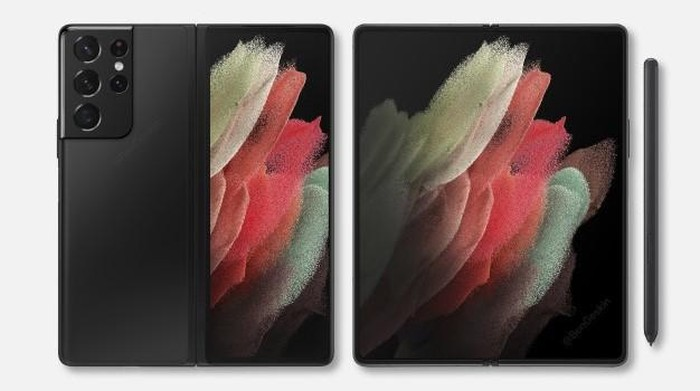 The Galaxy Z Fold 3 is rumored to look like this. (Source: Twitter)