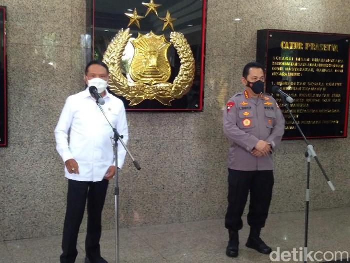 Jumpa pers Kapolri Jenderal Listyo Sigit Prabowo dan Menpora Zainudin Amali