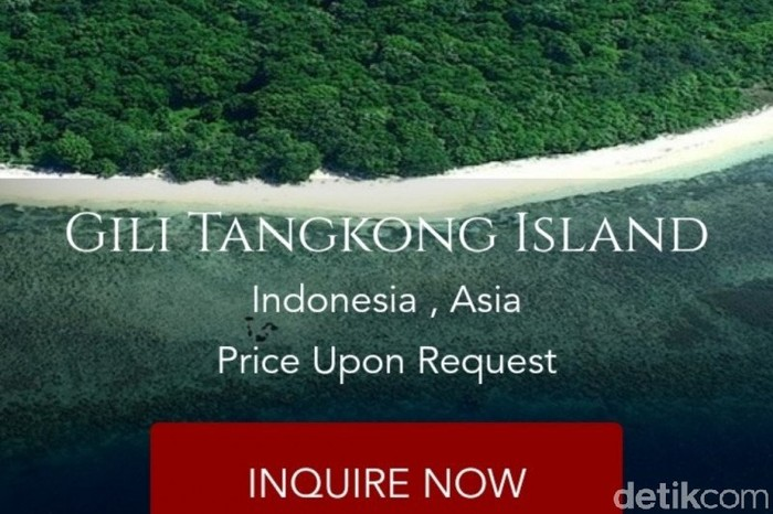 Pulau atau Gili Tangkong, Lombok dijual online.