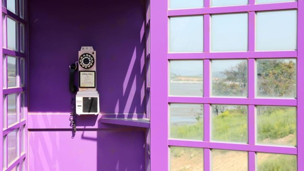 Hingga kotak teleponnya pun berwarna ungu. (Shinan County Office)