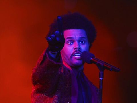 The Weeknd performs performs during halftime of the NFL Super Bowl 55 football game between the Kansas City Chiefs and Tampa Bay Buccaneers, Sunday, Feb. 7, 2021, in Tampa, Fla. (AP Photo/Mark LoMoglio)
