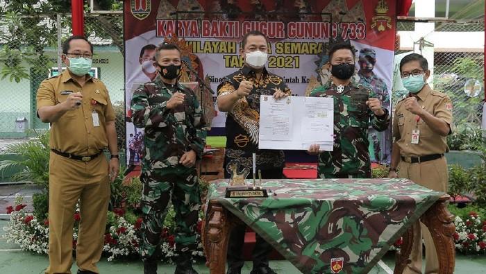 MoU Pemerintah Kota Semarang dan Kodim 0733/BS Semarang, yang ditandatangani di Aula Kodim 0733/BS Semarang,