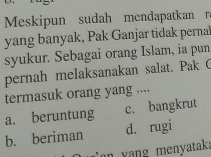 Soal di buku pelajaran sebut Ganjar tidak pernah bersyukur, Selasa (9/2/2021).