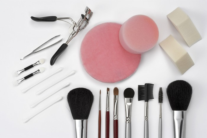 makeup on a white ground equipment