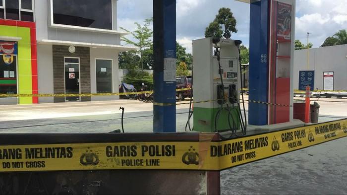 Kondisi SPBU di Sumsel lokasi mobil meledak saat isi BBM (Syahbana-detikcom)