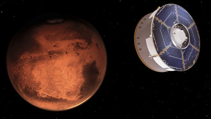 This illustration provided by NASA depicts the Mars 2020 spacecraft carrying the Perseverance rover as it approaches Mars. Perseverance's $3 billion mission is the first leg in a U.S.-European effort to bring Mars samples to Earth in the next decade.