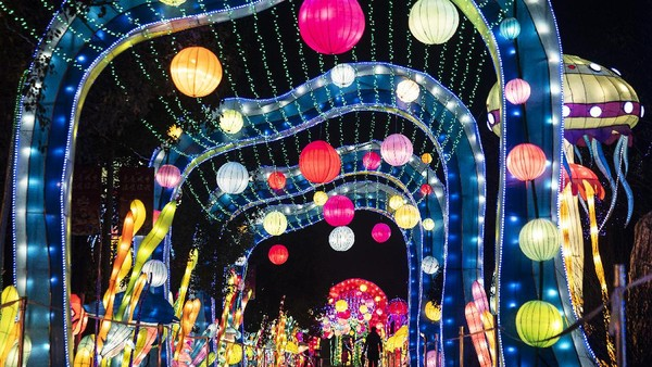 Pertunjukan Lentera Seni Rakyat Tahun Baru Imlek juga dibuka di Expo Garden, Wuhan.