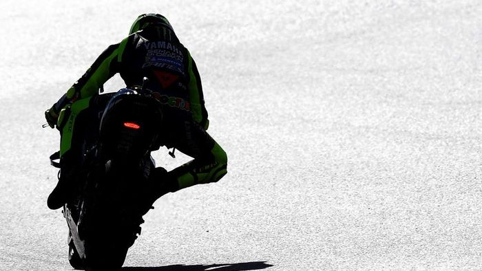 Monster Energy Yamahas Italian rider Valentino Rossi rides during the fourth free practice session of the MotoGP race of the European Grand Prix at the Ricardo Tormo circuit in Valencia on November 7, 2020. (Photo by JOSE JORDAN / AFP)