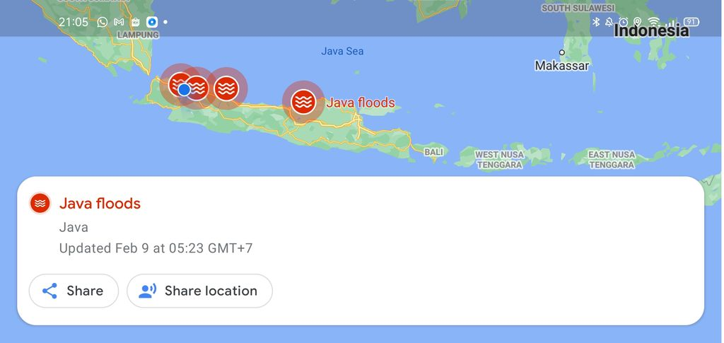 Java Floods dari Google Maps