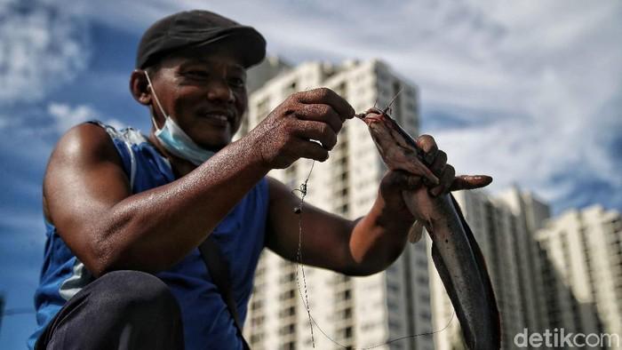 Salah satu keluarga etnis Tionghoa berbagi berkah jelang Imlek dengan melepas 8 drum besar ikan lele de dalam Kali Item, Sunter, Jakarta Utara.
