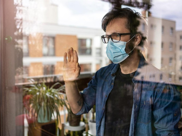 Man in isolation at home for virus outbreak