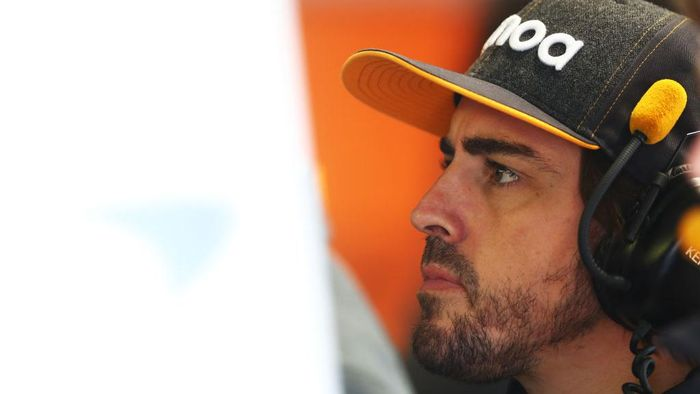 MONZA, ITALY - SEPTEMBER 06: Fernando Alonso of Spain and McLaren F1 looks on in the garage during practice for the F1 Grand Prix of Italy at Autodromo di Monza on September 06, 2019 in Monza, Italy. (Photo by Mark Thompson/Getty Images)