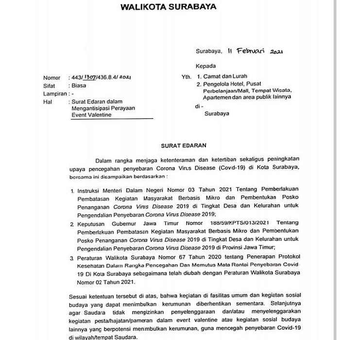 Hari Valentine biasa dirayakan setiap 14 Februari. Pemkot kini mengeluarkan Surat Edaran (SE) Wali Kota Surabaya terkait Hari Kasih Sayang tersebut.