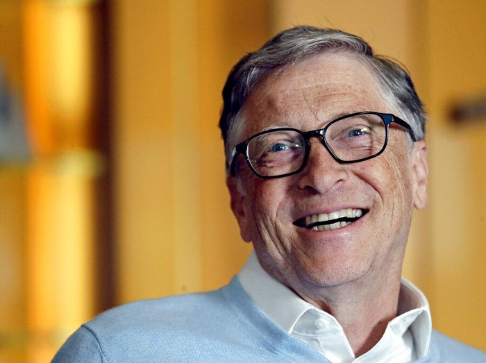 FILE - In this Feb. 1, 2019, file photo, Bill Gates smiles while being interviewed in Kirkland, Wash. Washington states richest residents, including Gates and Jeff Bezos, would pay a wealth tax on certain financial assets worth more than $1 billion under a proposed bill whose sponsor says she is seeking a fair and equitable tax code. Under the bill, starting Jan. 1, 2022, for taxes due in 2023, a 1% tax would be levied not on income, but on
