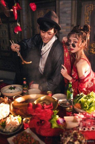foto pernikahan tema hot pot dan boba