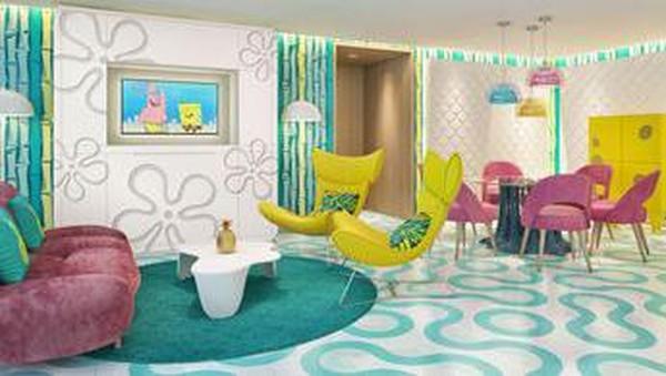 Resor dilengkapi dengan ruang tamu dan ruang makan, tempat tidur murphy, tempat tidur sofa hingga smart tv. Traveler juga bisa makan malam di tepi pantai dengan hidangan masakan koki kelas dunia. (Nickelodeon Hotel & Resort)